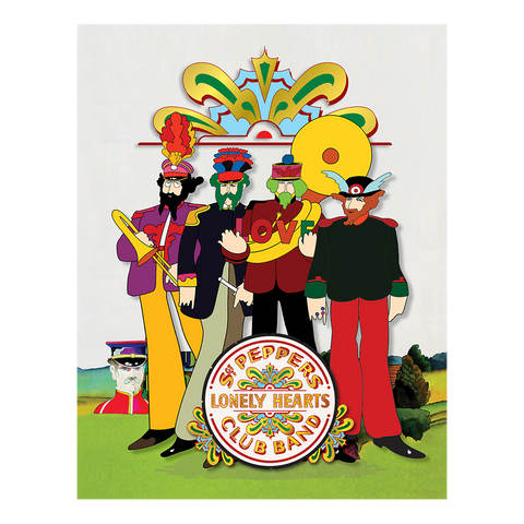 "Yellow Submarine Pepperland Band with Drumhead 19"" x 24"" Canvas"