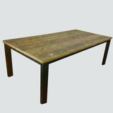 50/100 Straight Leg Rustic Reclaimed Dining Table & Additional Benches
