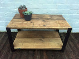 Angle Coffee Table With Shelf - Industrial Reclaimed Style Furniture