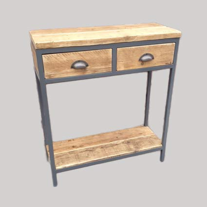 Industrial Style Console with Shelf & Drawers
