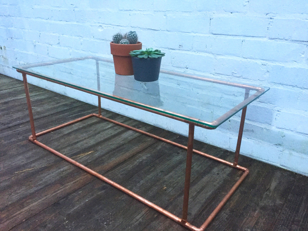 Copper Coffee Table  Industrial Reclaimed Style Furniture