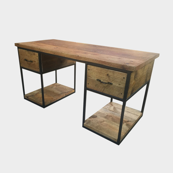 Desk with Double Drawer and shelf Storage