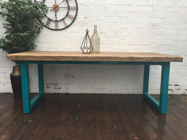 Chunky U-Bar Dining Table - Industrial Reclaimed Style Furniture