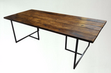 T-BAR DINING Table - Industrial Style - Reclaimed - Wood - Steel