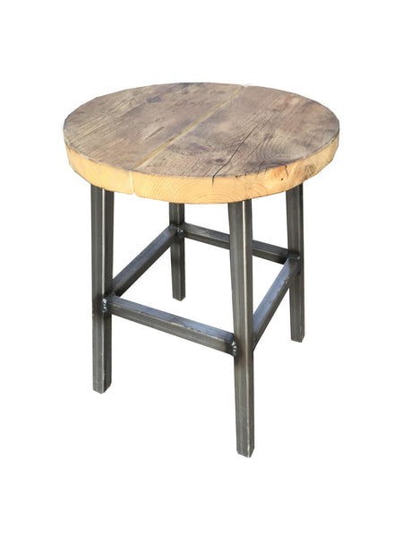 Low Round Bar Stool- Industrial Reclaimed Style Furniture