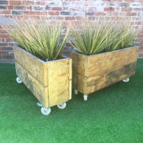 Planters (pair) - Industrial Rustic Reclaimed Style