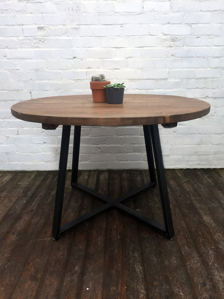 Round Tapered X Frame Dining Table