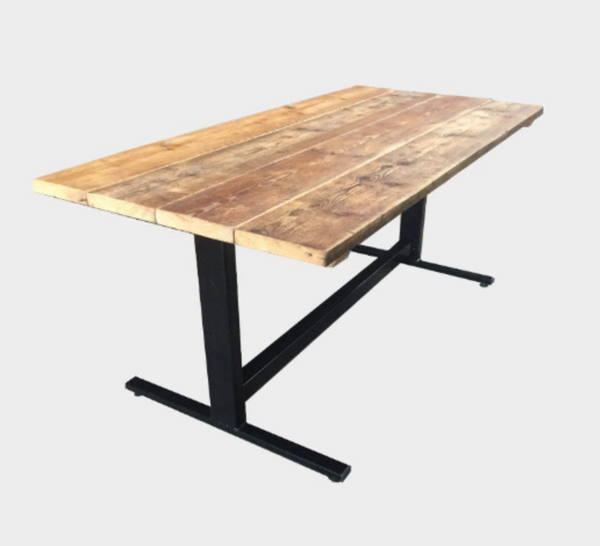 Reverse-T Rustic Reclaimed Dining Table & Additional Benches
