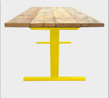 Coloured Reverse-T Dining Table And Additional Benches