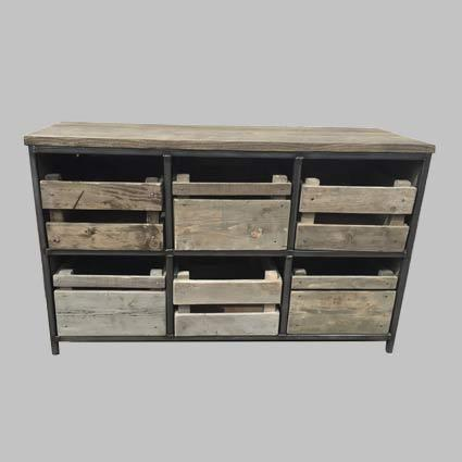 Crate Style Storage Unit - Industrial Reclaimed Style Furniture