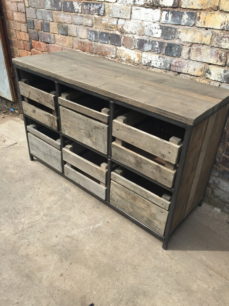 Crate style storage unit industrial reclaimed style furniture