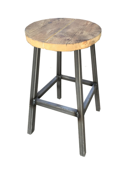 Tall Round Bar Stool- Industrial Reclaimed Style Furniture