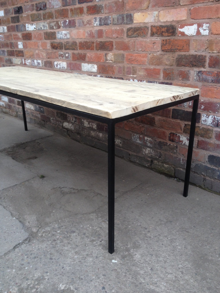 industrial wood furniture. Ultra Slim Dining Table - Industrial Wood Reclaimed Furniture