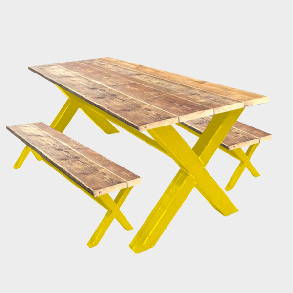 Coloured X-Frame Dining Table & Additional Benches