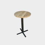 High Round Poseur Table- PUB CAFE RESTAURANT - Reclaimed steel wood rustic