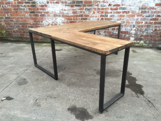 L Shape Corner Desk Industrial Reclaimed Style