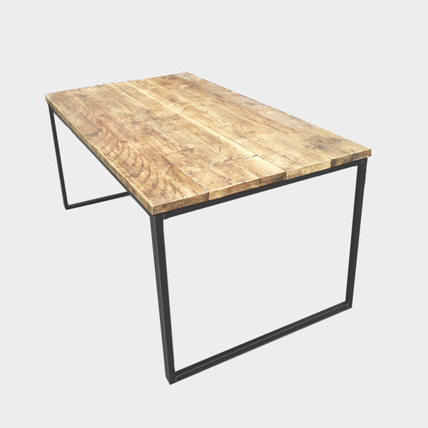 Slim U-Bar Rustic Reclaimed Dining Table