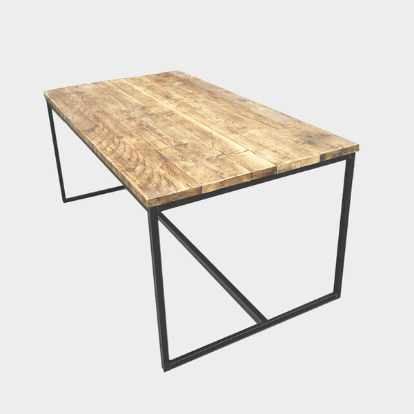 Slim Brace Rustic Reclaimed Dining Table