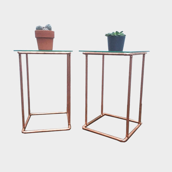 Copper Side Tables (pair) - Industrial Reclaimed Style Furniture
