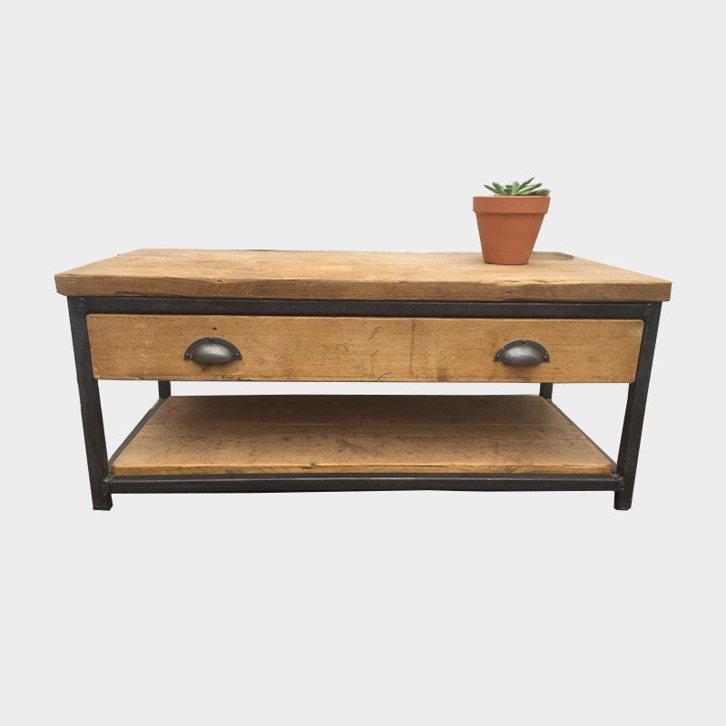Coffee Table With Drawer Wood Metal Industrial Reclaimed Style Furniture