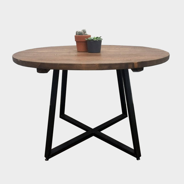 Round Tapered X-frame Dining table - Industrial Style Furniture - Reclaimed - Wood - Steel