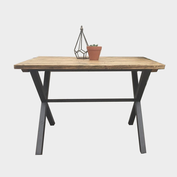 Girder X-Frame Dining Table - Wood & Steel - Urban- Industrial Reclaimed Style Furniture