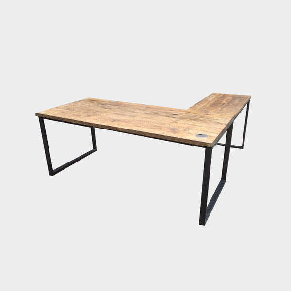 L-Shape / Corner Desk - wood & steel - Industrial Reclaimed Style Furniture