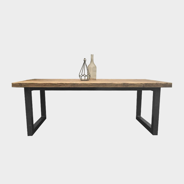 Solid Oak Chunky U-Bar Table & Matching Bench - COLOURED FRAME