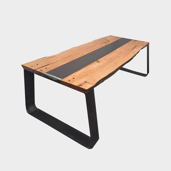 Live Edge Dining table - Industrial - Reclaimed - Wood - Steel - Beech