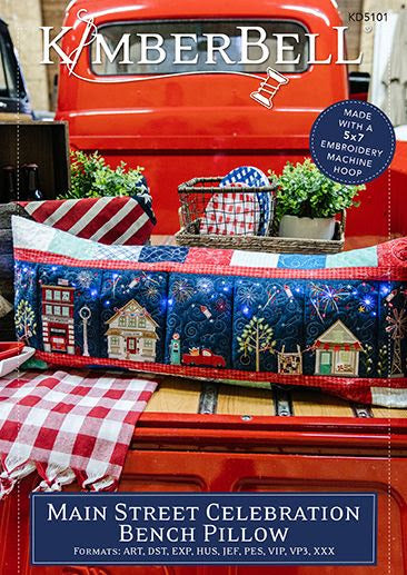 Main Street Celebration Bench Pillow  Machine Embroidery CD