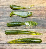 Skunk Beater Set 5 finesse baits, 38 baits in all Green Pumpkin