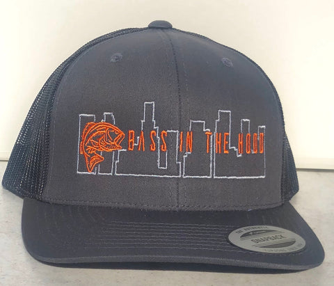 Snap Back Cap  with Bass in the Hood logo  (grey/orange), mesh back