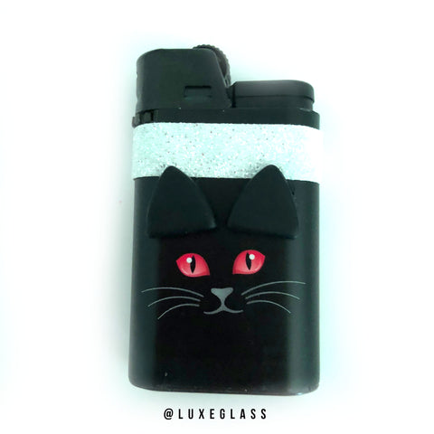 Black Cat Lighter with Pink Eyes