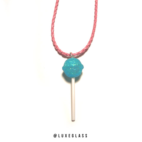 Blue Glitter Lollipop Pendant
