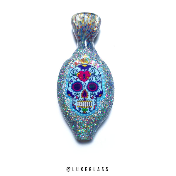 Glitter Sugar Skull Glass Chillum with Rainbow Glitter