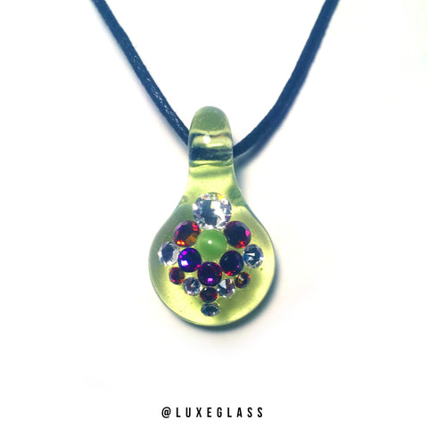 Green Slyme Glass Pendant with Authentic Swarovski Crystals.