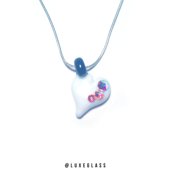 Glass Heart Pendant with Swarovski Crystal