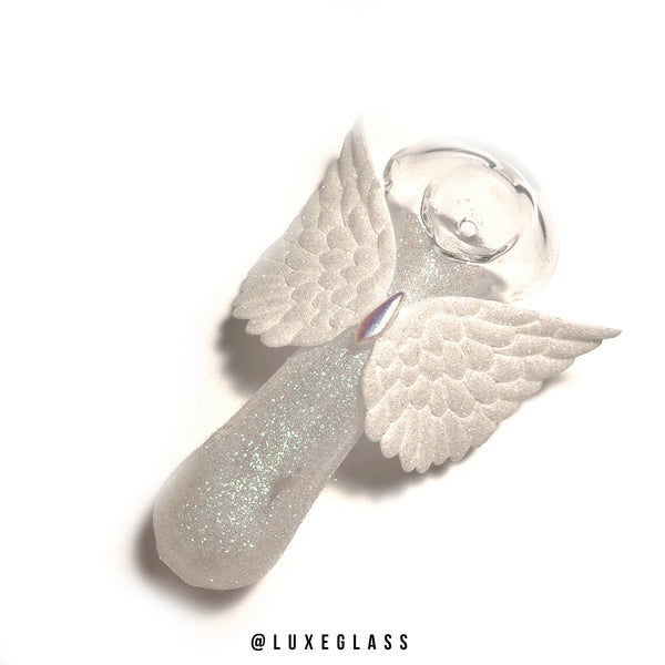 White Glitter Wings Glass Pipe