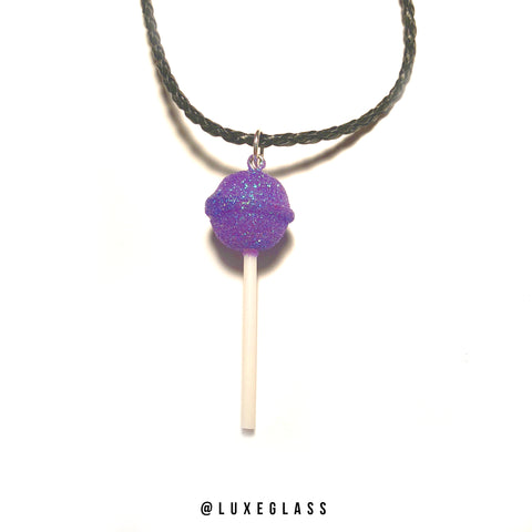 Purple Glitter Lollipop Pendant