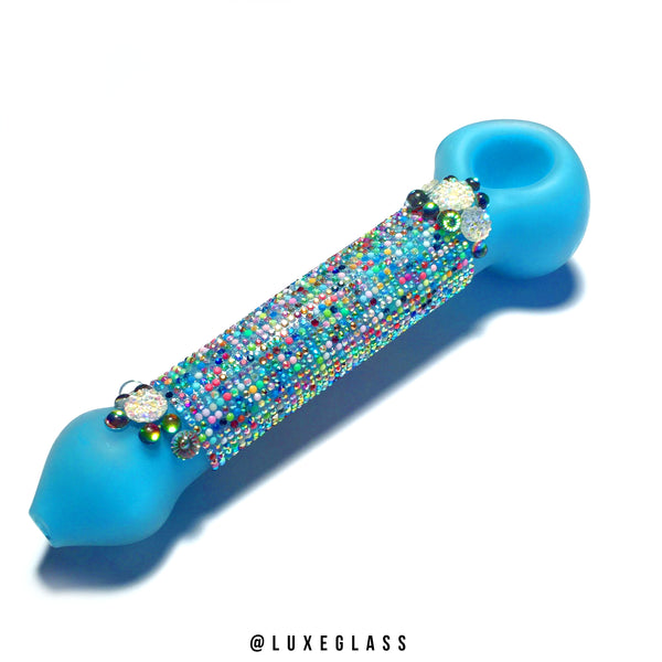 Large Frosted Blue Glass Pipe with Multi Color Rhinestones