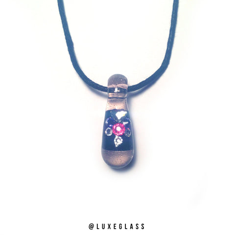 Pink Glass & Black Pendant with Authentic Swarovski Crystals.