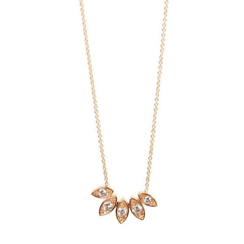 Zoe Chicco 14k Gold 5 Marquis Shape Fan Necklace