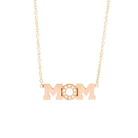 Zoe Chicco 14k Gold MOM Pave Necklace