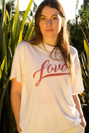 Palmer Hemp Boxy Tee in Lover Ecru