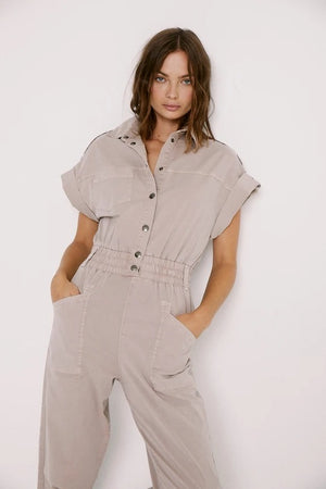 Pistola Dani Lightweight Dolman Jumpsuit in Bark sold at Sway and Cake