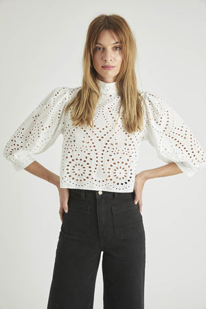 Rolla's Jeans Stephanie Lace Blouse in White