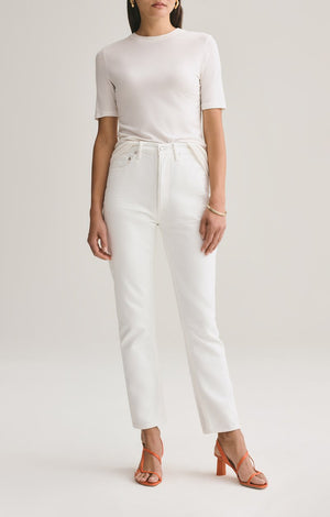 Agolde Riley Hi-Rise Straight Crop Jean In Tissue