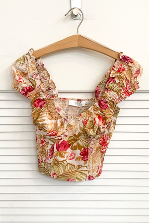 Gigi Crop Top in Rose Tropical