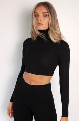 Bayse Turtle Neck Crop Top in Black