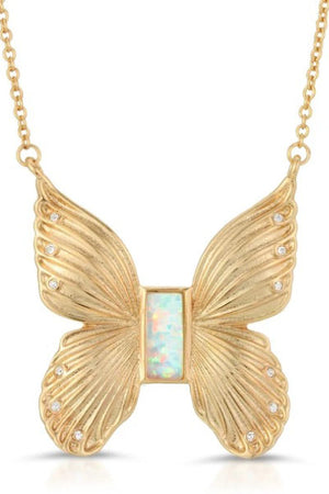 Elizabeth Stone Butterfly Necklace with Opal and CZ Accents sold at Sway and Cake